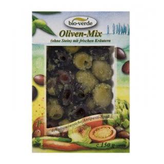 bio-verde Gemischte Oliven ohne Stein, gekräutert