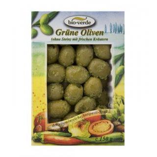 bio-verde Grüne Oliven ohne Stein, 150 gr Schale