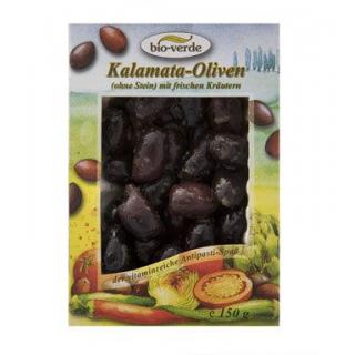 bio-verde Schwarze Kalamata-Oliven ohne Stein, gek