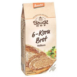 Bauck Hof 6-Korn-Brot, Vollkorn, 500 gr Packung