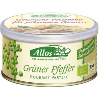 Allos Gourmet Pastete Grüner Pfeffer, 125 gr Dose