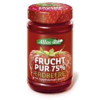 Allos Frucht pur Erdbeere, 250 gr Glas -75% Frucht