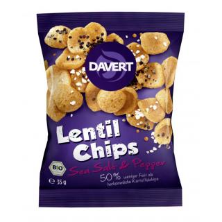 Davert Lentil Chips Sea Salt & Pepper, 35 gr Packu