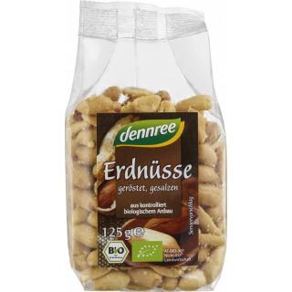 dennree Erdnüsse, geröstet und gesalzen, 125 gr Pa