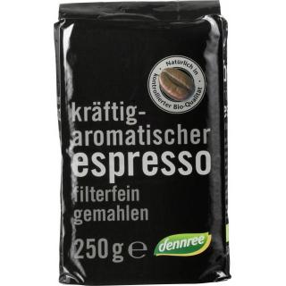 dennree Espresso, gemahlen, 250 gr Packung