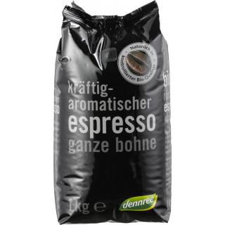 dennree Espresso, ganze Bohne, 1 kg Packung