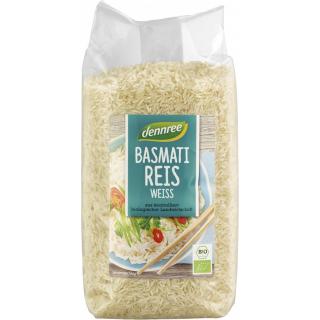 dennree Basmati-Reis weiß,  Indien,1 kg Packung