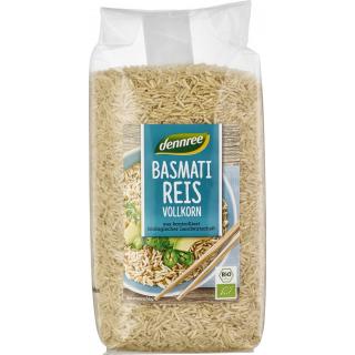 dennree Basmati-Reis Vollkorn,  Indien, 1 kg Packu