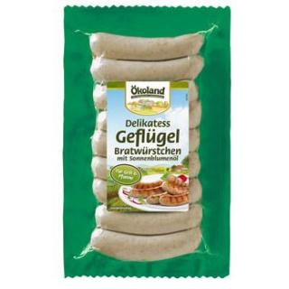 Ökoland Delikatess-Geflügelbratwürstchen, 9 Stück,