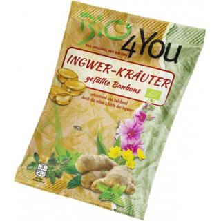 Bio4you Ingwer-Kräuter Bonbons, 75 gr Packung