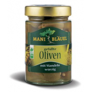 Mani Bläuel Oliven gefüllt mit Mandeln, in Lake,
