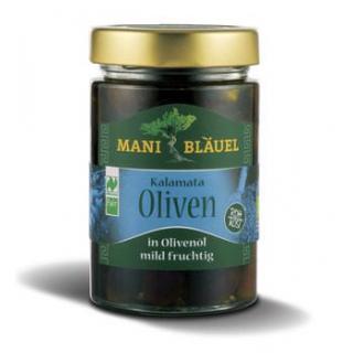 Mani Bläuel Kalamata Oliven, in Olivenöl, in Rohko
