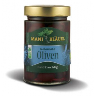 Mani Bläuel Kalamata Oliven, in Lake, 300 gr Glas