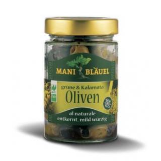 Mani Bläuel Grüne & Kalamata Oliven, Olivenmix al