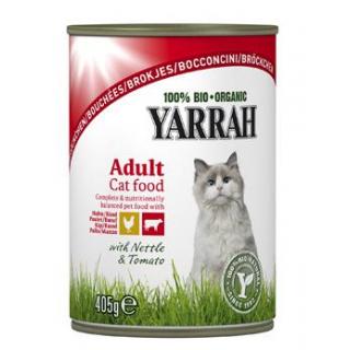 Yarrah Katzenfutter Bröckchen Huhn und Rind, 405 g