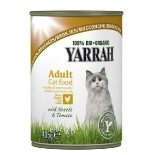 Yarrah Katzenfutter Bröckchen Huhn, 405 gr Dose